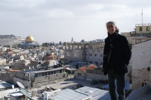 Issa Freij on the roof of his house in the old city of Jerusalem